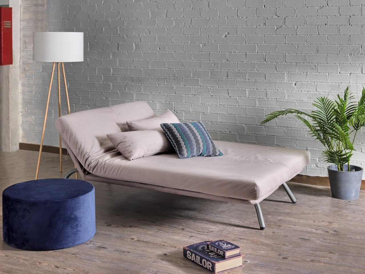 Stick, four-seater sofa / double bed.